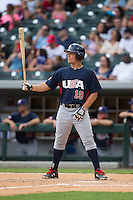 Matt Thaiss (19) of the US Collegiate National Team at bat against the Cuban National Team at BB&T BallPark on July 4, 2015 in Charlotte, North Carolina.  The United State Collegiate National Team defeated the Cuban National Team 11-1.  (Brian Westerholt/Four Seam Images)
