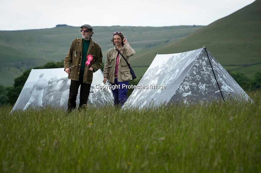 03/06/19<br /> <br /> Jarvis Cocker and Jeremy Deller at 'Pitch Perfect' artwork.<br /> <br /> A new art trail in the Peak District created by Jarvis Cocker, for the National Trust, follows in the footsteps of some of those who took part in the mass trespass onto Kinder Scout in 1932. <br /> <br /> With the aim of getting people to think about how to protect the landscape, the walk presents surprising artworks in places where guest artists have been inspired by the landscape and the trespass.<br /> <br /> The BE KINDER trail, will run from 6 July until 15 September and starts from Edale railway station, Derbyshire.<br /> <br /> All Rights Reserved: F Stop Press Ltd. +44(0)1335 418365   +44 (0)7765 242650 www.fstoppress.com