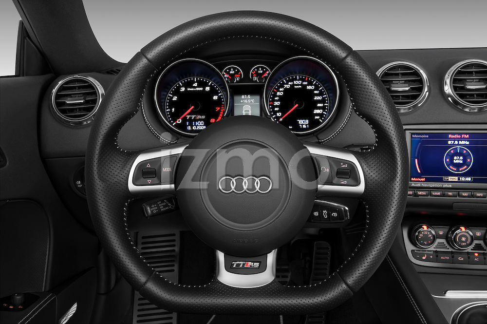 Steering wheel view of a 2010 - 2014 Audi TT RS Convertible.