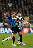 Calcio, Serie A: Juventus vs Inter. Torino, Juventus Stadium, 28 February 2016.<br /> Inter's Rodrigo Palacio, left, and Juventus' Sami Khedira fight for the ball during the Italian Serie A football match between Juventus and Inter at Turin's Juventus Stadium, 28 February 2016.<br /> UPDATE IMAGES PRESS/Isabella Bonotto