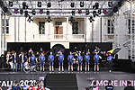Deceuninck-QuickStep on stage at team presentation of the 2021 Giro d'Italia inside the Cortile d'Onore of the Castello del Valentino, on the occasion of the 160th anniversary of the Unification of Italy, Turin, Italy. 6th May 2021.  <br /> Picture: LaPresse/Fabio Ferrari | Cyclefile<br /> <br /> All photos usage must carry mandatory copyright credit (© Cyclefile | LaPresse/Fabio Ferrari)