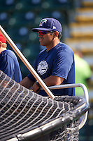 Fort Myers Miracle pitching coach Henry Bonilla (38) during practice before a game against the Bradenton Marauders on April 9, 2016 at McKechnie Field in Bradenton, Florida.  Fort Myers defeated Bradenton 5-1.  (Mike Janes/Four Seam Images)
