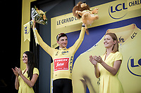 Giulio Ciccone (ITA/Trek-Segafredo)  yellow jersey / GC leader<br /> <br /> Stage 7: Belfort to Chalon-sur-Saône (230km)<br /> 106th Tour de France 2019 (2.UWT)<br /> <br /> ©kramon