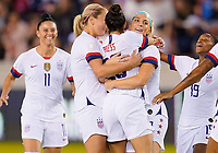 HOUSTON, TX - FEBRUARY 03: Christen Press #20 of the United States celebrates her goal with Julie Ertz #8 and teammates during a game between Costa Rica and USWNT at BBVA Stadium on February 03, 2020 in Houston, Texas.
