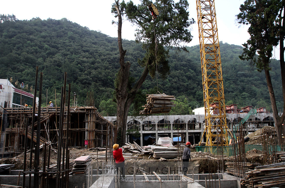 A construction site in Pingwu County in Sichuan Province, south-west China.
