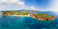 The beach Kokkinokastro of Alonissos island from drone view, Greece