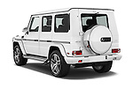 Car pictures of rear three quarter view of 2018 Mercedes Benz G-Class AMG-G63 5 Door SUV Angular Rear