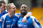 St Johnstone v Kilmarnock.....09.03.13      SPL.Gregory Tade celebrates his goal that made it 2-0 with Steven Anderson and David McCracken.Picture by Graeme Hart..Copyright Perthshire Picture Agency.Tel: 01738 623350  Mobile: 07990 594431