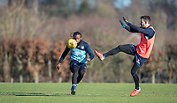 Marcus Bean of Wycombe Wanderers & Matt Bloomfield of Wycombe Wanderers during the Wycombe Wanderers Training session at Wycombe Training Ground, High Wycombe, England on 17 January 2019. Photo by Andy Rowland.