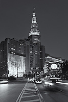 Early rush-hour traffic heads for the downtown area including Tower City and the Terminal Tower complex prior to sunrise in Cleveland, Ohio.