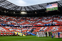 Harrison, NJ - Friday Sept. 01, 2017: National anthem prior to a 2017 FIFA World Cup Qualifier between the United States (USA) and Costa Rica (CRC) at Red Bull Arena.