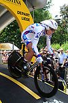Cedric Pineau (FRA) FDJ-BigMat powers down the start ramp of the Prologue of the 99th edition of the Tour de France 2012, a 6.4km individual time trial starting in Parc d'Avroy, Liege, Belgium. 30th June 2012.<br /> (Photo by Eoin Clarke/NEWSFILE)