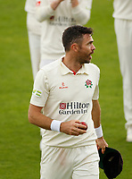 5th July 2021; Emirates Old Trafford, Manchester, Lancashire, England; County Championship Cricket, Lancashire versus Kent, Day 2; James Anderson of Lancashire walks off at the end of the Kent innings having taken 7-19 in ten overs, his best ever first class return, including his 1,00th first class wicket
