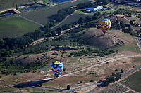aerial photograph of two hot air balloons flying over the southern portion of Napa Valley, Napa County, California