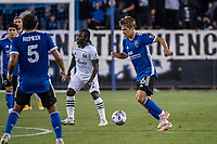 SAN JOSE, CA - MAY 15: Jack Skahan #16 of the San Jose Earthquakes dribbles the ball during a game between San Jose Earthquakes and Portland Timbers at PayPal Park on May 15, 2021 in San Jose, California.
