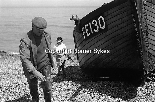 Fisherman and wife with boat Dungeness Kent England 1969.<br /> The late Charlie and Flo Tart. ( Charles and  Florence the former also known as Charlie Brown) Thanks to Mike Golding