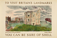 BNPS.co.uk (01202 558833)<br /> Pic: Lyon&Turnbull/BNPS<br /> <br /> Pictured: Walton Castle on a gloomy day in Clevedon, Somerset is part the Shell poster Heritage sale<br /> <br /> A vast collection of vintage Shell posters have sold at auction for almost £60,000.<br /> <br /> The group of 49 sheets were sold directly from the oil giant's archives and featured some incredibly rare designs from down the years.<br /> <br /> All of the posters had previously been used in Shell advertising campaigns, dating back to between the 1920s and 1950s.<br /> <br /> Many of the colourful designed featured the slogan 'You can be sure of Shell' and list people who preferred their fuel.