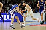 Real Madrid´s Sergio Rodriguez and Anadolu Efes´s Dario Saric during 2014-15 Euroleague Basketball Playoffs second match between Real Madrid and Anadolu Efes at Palacio de los Deportes stadium in Madrid, Spain. April 17, 2015. (ALTERPHOTOS/Luis Fernandez)