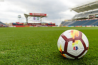 Bridgeview, IL - Saturday March 31, 2018: NWSL Nike soccer ball during a regular season National Women's Soccer League (NWSL) match between the Chicago Red Stars and the Portland Thorns FC at Toyota Park.