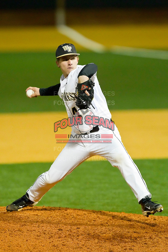 Relief pitcher Nate Jones #42 of the Wake Forest Demon Deacons in action against the North Carolina Tar Heels at Gene Hooks Field on March 11, 2011 in Winston-Salem, North Carolina.  Photo by Brian Westerholt / Four Seam Images