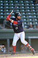 First baseman Pedro Castellanos (28) of the Greenville Drive bats in Game 1 of a doubleheader against the Rome Braves on Friday, August 3, 2018, at Fluor Field at the West End in Greenville, South Carolina. Rome won, 7-6. (Tom Priddy/Four Seam Images)