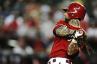 May 9, 2012; Phoenix, AZ, USA; Arizona Diamondbacks third baseman Ryan Roberts in the ninth inning against the St. Louis Cardinals at Chase Field. The Cardinals defeated the Diamondbacks 7-2. Mandatory Credit: Mark J. Rebilas-