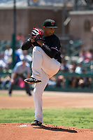 Visalia Rawhide starting pitcher Emilio Vargas (26) prepares to deliver a pitch during a California League game against the Stockton Ports at Visalia Recreation Ballpark on May 9, 2018 in Visalia, California. Stockton defeated Visalia 4-2. (Zachary Lucy/Four Seam Images)