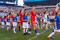 PHILADELPHIA, PA - AUGUST 29: Lindsey Horan #9 of the United States enters the field prior to a game between Portugal and the USWNT at Lincoln Financial Field on August 29, 2019 in Philadelphia, PA.