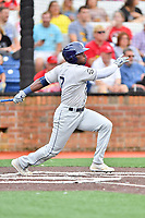 Princeton Rays left fielder Tony Pena (7) swings at a pitch during a game against the Johnson City Cardinals at TVA Credit Union Ballpark on August 9, 2018 in Johnson City, Tennessee. The Rays defeated the Cardinals 10-2. (Tony Farlow/Four Seam Images)