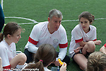 Soccer coach talking to team