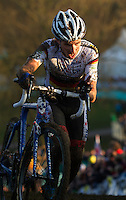 29 NOV 2014 - MILTON KEYNES, GBR - Philipp Walsleben (GER) from Germany and BKCP-Powerplus pushes his bike to the top of a climb during the men's 2014-2015 UCI Cyclo-Cross World Cup round at Campbell Park in Milton Keynes, Great Britain (PHOTO COPYRIGHT © 2014 NIGEL FARROW, ALL RIGHTS RESERVED)