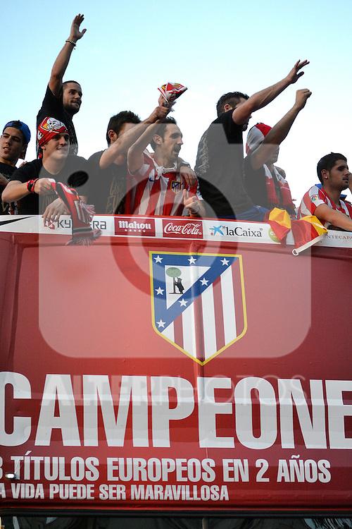 Atletico de Madrid's players Champion of  UEFA League, 2012/May/010..(ALTERPHOTOS/ARNEDO & ALCONADA)