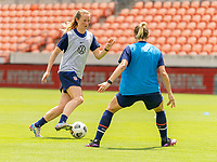 HOUSTON, TX - JUNE 9: Samantha Mewis #3 of the USWNT dribbles the ball during a training session at BBVA Stadium on June 9, 2021 in Houston, Texas.