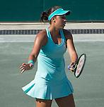Madison Keys (USA) defeats Andreea Mitu (ROU) 6-2, 6-0 at the Family Circle Cup in Charleston, South Carolina on April 9, 2015.