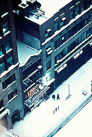 View from above of snow covered sidewalk<br />