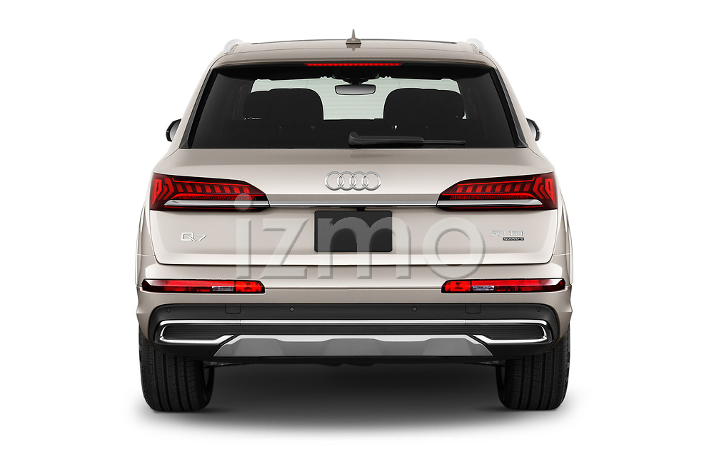 Straight rear view of 2020 Audi Q7 Advanced 5 Door SUV Rear View  stock images