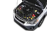 Car Stock 2016 Subaru Crosstrek Hybrid-Touring 5 Door SUV Engine  high angle detail view