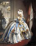 L'Italienne Virginia Oldoini (1837-1899), comtesse de Castiglione, elle fut l'espionne et la maitresse de NapoleonIII, ici portrait intitule La Marquise Mathilde, photo par Pierre Louis Pierson peinte a la gouache par Aquilin Schad, 1861-1867. Elle est vetue d'un costume de marquise du 18esiecle qu'elle a porte lors d'un bal chez la princesse -Mathilde en 1857   ---  Italian Virginia Oldoini (1837-1899), countess of Castiglione , she was the spy and mistress of french emperor NapoleonIII, here portrait  called La Marquise Mathilde, photo by Pierre-Louis Pierson painted by Aquilin Schad, 1861-1867. She's waering a 18thcentury dress