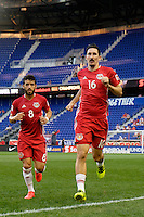 Harrison, NJ - Wednesday Aug. 03, 2016: Felipe Martins, Sacha Kljestan during a CONCACAF Champions League match between the New York Red Bulls and Antigua at Red Bull Arena.