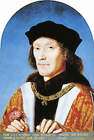 Pictured: Portrait of Henry VII holding a Tudor Rose, wearing collar of the Order of the Golden Fleece, dated 1505, by unknown artist<br /> Re: The exact location of Henry VII's birthplace at Pembroke Castle could be revealed by archaeologists who are at the site this week.<br /> It is hoped a survey, using geophysical techniques, will further advance the understanding of one of Wales' and the UK's most iconic castles, and where the Tudor dynasty began.