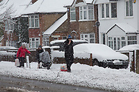 Sledges carry shopping<br /> Weather - the Snowfall in High Wycombe, England on 10 December 2017. Photo by Andy Rowland.