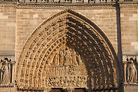 In the Ile de la Cité in Paris, the main tympanum of Notre Dame, with the representation of the Last Judgment, in the sunset light.<br /> <br /> You can download this file for (E&PU) only, but you can find in the collection the same one available instead for (Adv).