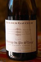 Cuvee Guilhem Gaucelm. Domaine Ermitage du Pic St Loup, Chateau Ste Agnes. Pic St Loup. Languedoc. France. Europe. Bottle.