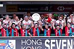 Wales Team celebrates winning the HSBC Hong Kong Sevens 2018 Shield Final match against Samoa on April 8, 2018 in Hong Kong, Hong Kong. Photo by Marcio Rodrigo Machado / Power Sport Images