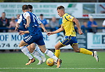 Montrose v St Johnstone….16.07.19      Links Park     Betfred Cup       <br />Callum Hendry takes on Sean Dillon and Andrew Steeves<br />Picture by Graeme Hart. <br />Copyright Perthshire Picture Agency<br />Tel: 01738 623350  Mobile: 07990 594431