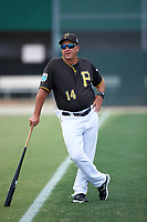 Pittsburgh Pirates coach Tom Prince (14) during a minor league Spring Training game against the Toronto Blue Jays on March 24, 2016 at Pirate City in Bradenton, Florida.  (Mike Janes/Four Seam Images)