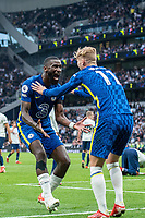 19th September 2021; Tottenham Hotspur Stadium, Tottenham, London; Antonio Rudiger of Chelsea celebrates with Timo Werner after scoring his teams 3rd goal during the Premier League match between Tottenham Hotspur and Chelsea at Tottenham Hotspur Stadium