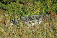 Rowboat is marsh grass, Cape Cod, USA