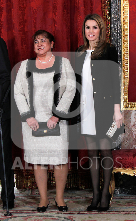 Spain's princess Letizia and Guatemala's first lady Rosa Leal during audiences. February 13, 2013. (ALTERPHOTOS/Alvaro Hernandez)