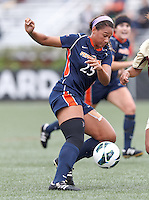 Pepperdine University forward Lynn Williams (25) attempts to control the ball. Pepperdine University defeated Boston College,1-0, at Soldiers Field Soccer Stadium, on September 29, 2012.